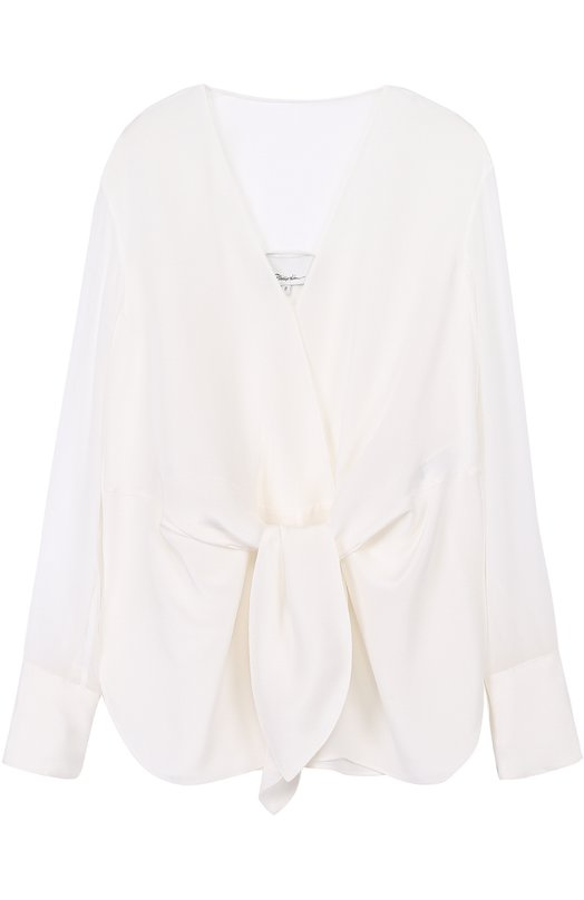 Шелковая блуза с прозрачными рукавами и бантом 3.1 Phillip Lim E171-2382CDC