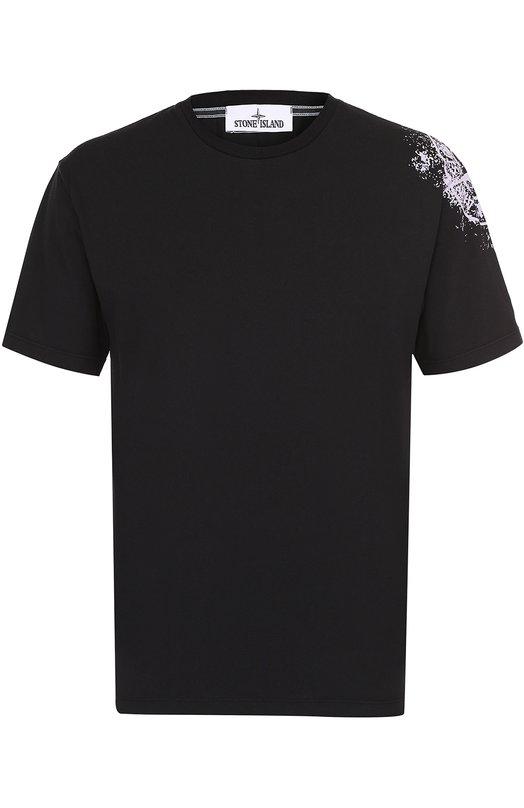 Хлопковая футболка с принтом Stone Island 66152NS82