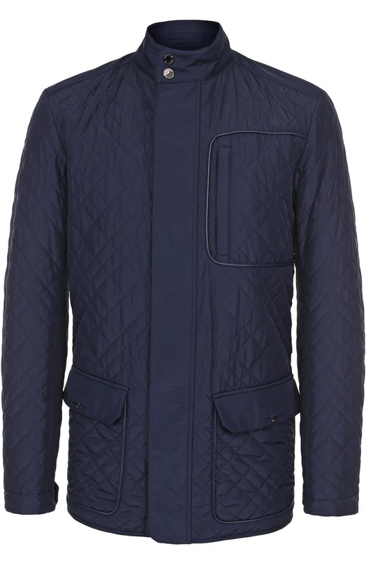 Купить Утепленная стеганая куртка на молнии с отделкой из натуральной кожи Pal Zileri, 94201/36S/B802, Италия, Синий, Полиэстер: 100%; Подкладка-полиэстер: 100%; Отделка кожа натуральная: 100%;