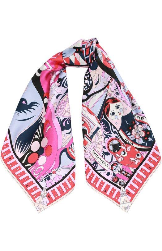 Купить Шелковый платок с принтом Emilio Pucci, 75/GB10/75M01, Италия, Разноцветный, Шелк: 100%;