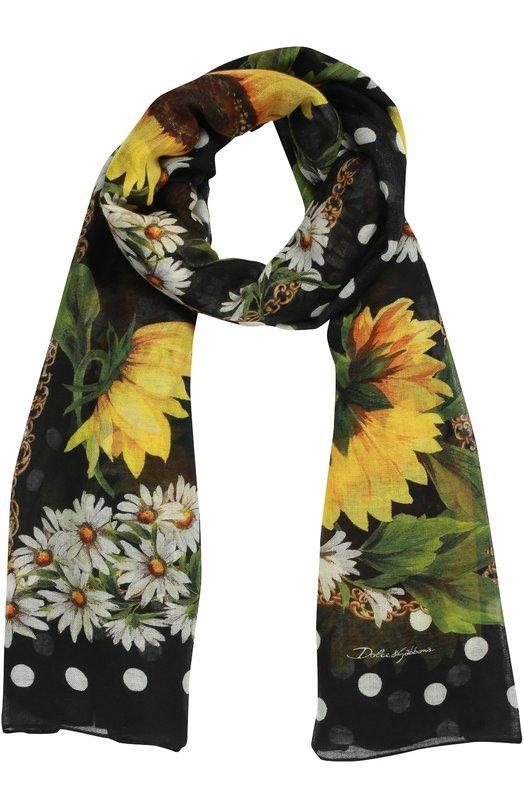 Шарф с принтом из смеси кашемира и шелка Dolce & Gabbana 0136/FS184A/GD918