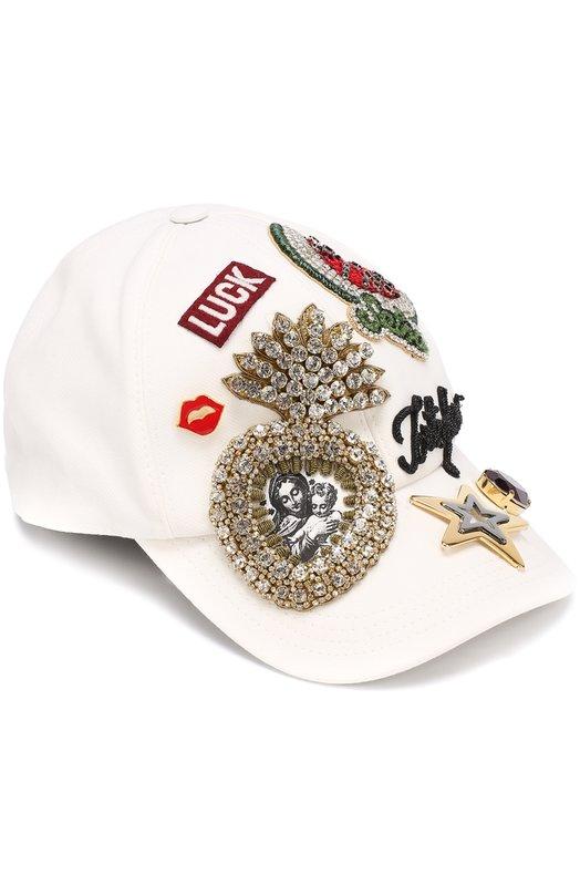 Бейсболка с нашивкой и кристаллами Dolce & Gabbana 0136/FH360Z/FURGE
