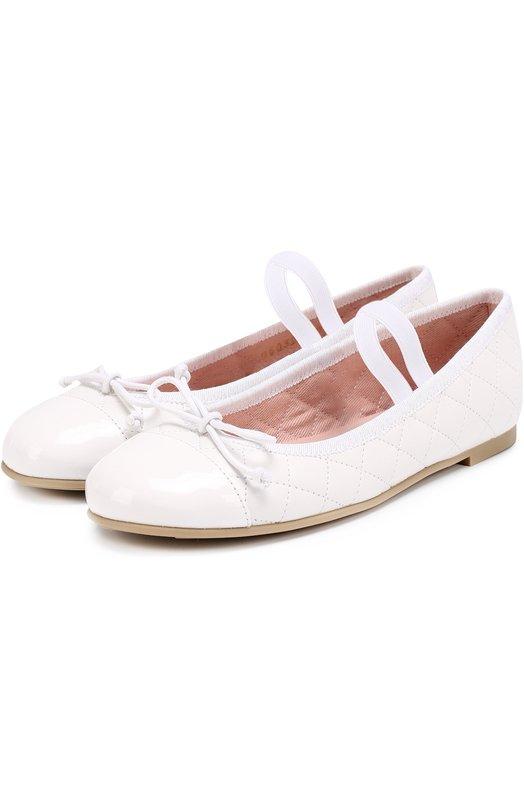 Комбинированные балетки с прострочкой и декором Pretty Ballerinas 39.279/SDADE BLANC0/SHADE