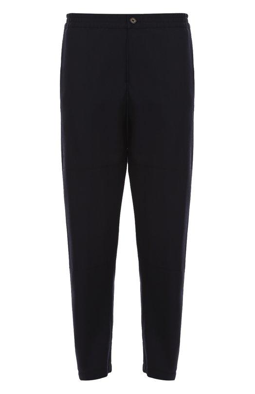 Шерстяные укороченные брюки свободного кроя с поясом на резинке Marni M05KA0050/S45449