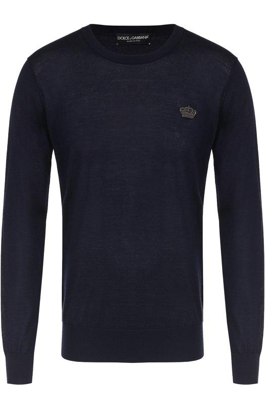 Купить Кашемировый джемпер тонкой вязки с вышивкой на груди Dolce & Gabbana, 0101/GQ001Z/F74AB, Италия, Темно-синий, Кашемир: 100%;