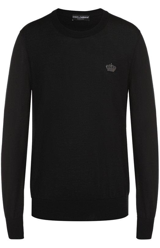 Купить Кашемировый джемпер тонкой вязки с вышивкой на груди Dolce & Gabbana, 0101/GQ001Z/F74AB, Италия, Черный, Кашемир: 100%;