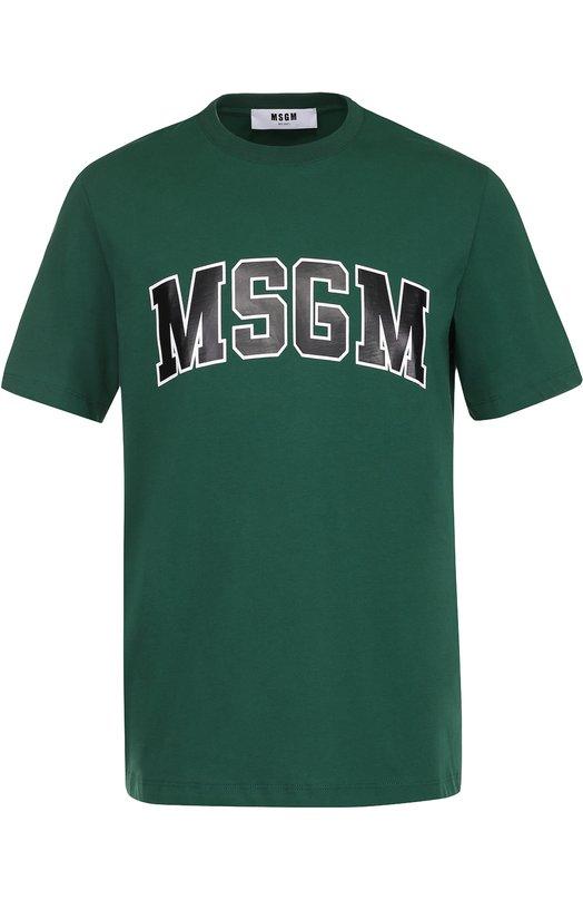 Хлопковая футболка с контрастной надписью MSGM 2240MM61/174298