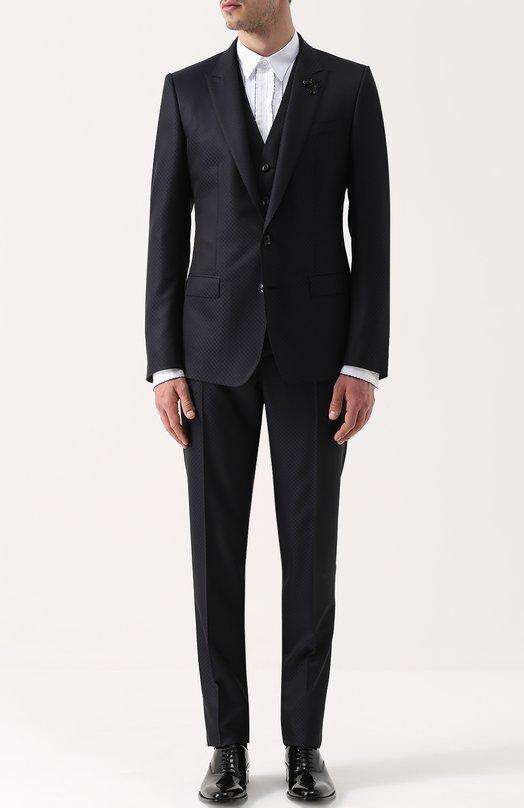 Смокинг-тройка из смеси шерсти и шелка с вышивкой на лацкане Dolce & Gabbana 0101/G17AMZ/FJ3C7