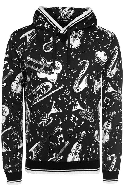 Хлопковая толстовка с принтом и капюшоном Dolce & Gabbana 0101/G9II3T/FS7U6