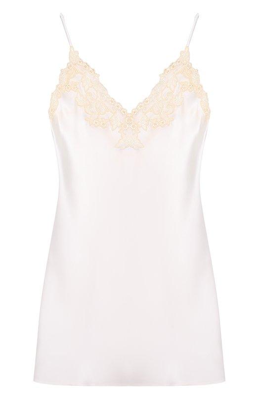 Шелковая сорочка с контрастной кружевной отделкой La Perla 0019227