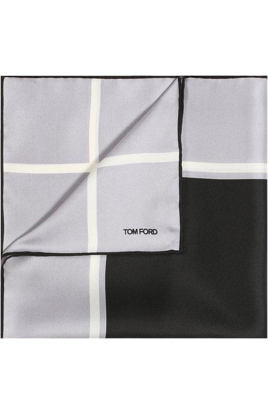 Купить Шелковый платок с принтом Tom Ford, 9TF72TF312, Италия, Сиреневый, Шелк: 100%;