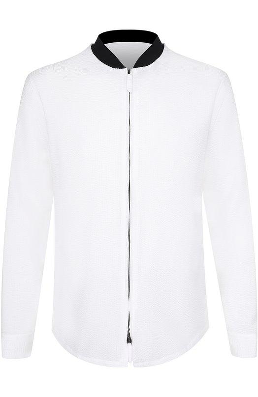 Хлопковая рубашка на молнии с контрастным воротником Giorgio Armani VSC5NT/VS45C