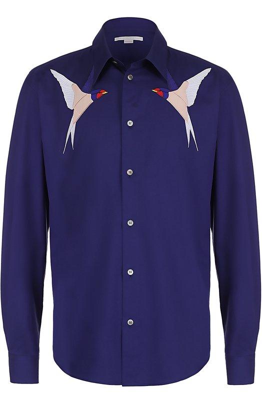 Хлопковая рубашка с аппликациями в виде ласточек Stella McCartney 459671/SIN07