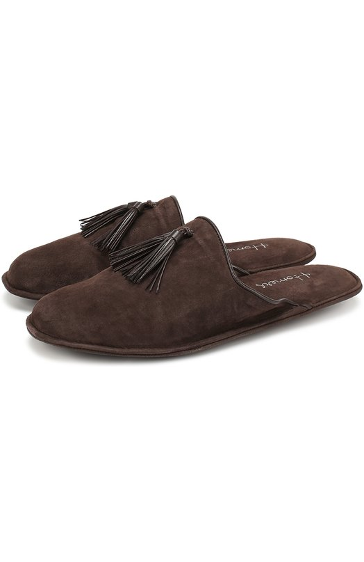 Купить Замшевые домашние туфли без задника Homers At Home, 17931/ANTE, Испания, Коричневый, Стелька-кожа: 100%; Подошва-кожа: 100%; Подошва-резина: 100%; Замша натуральная: 100%; Стелька-замша: 100%;