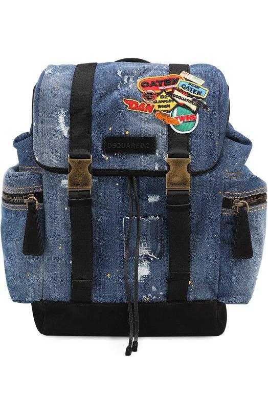 Рюкзак из денима с нашивками Dsquared2 S17BP4002/1162