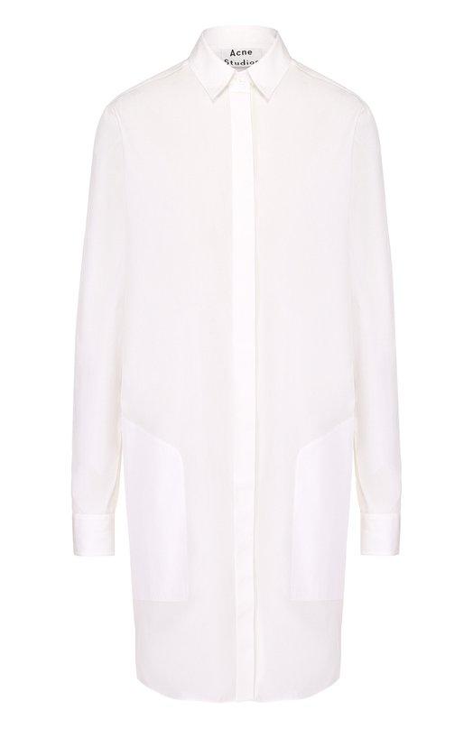 Хлопковое платье-рубашка с накладными карманами Acne Studios 14W166