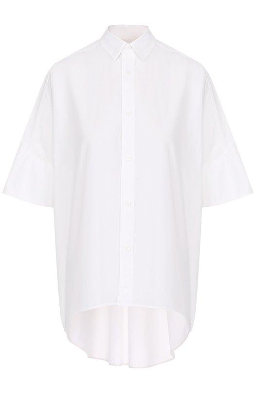 Хлопковая блуза свободного кроя с удлиненной спинкой Yohji Yamamoto YX/B41/034
