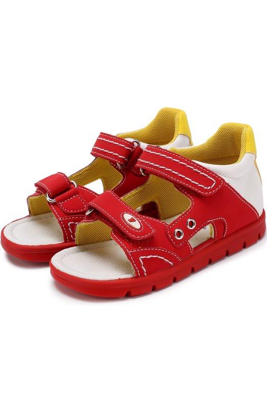 Купить Комбинированные сандалии с застежками велькро и прострочкой Falcotto, 0011500601/01, Китай, Красный, Кожа натуральная: 100%; Стелька-кожа: 100%; Подошва-резина: 100%;