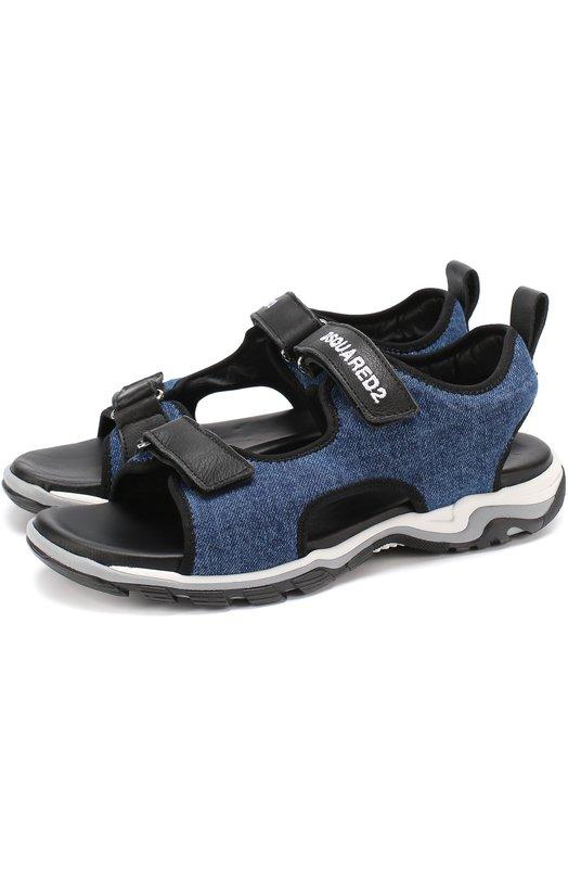 Кожаные сандалии с отделкой из денима и застежками велькро Dsquared2 48819/36-40