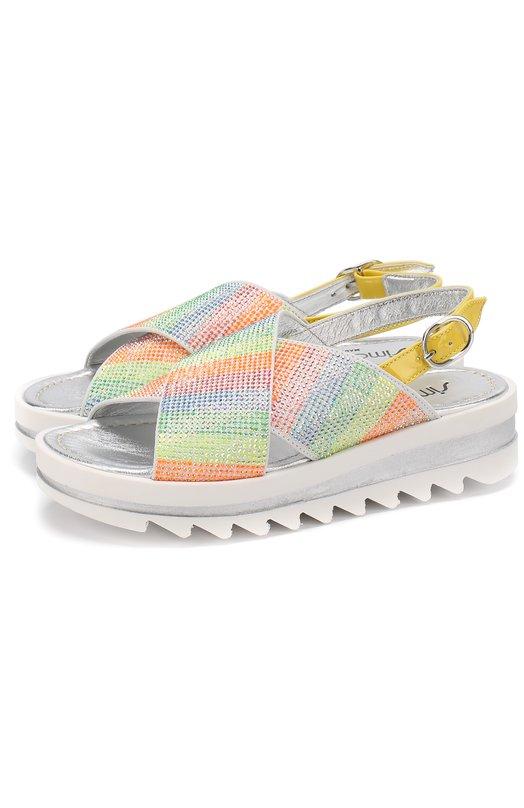 Кожаные сандалии со стразами Simonetta 47356/28-35