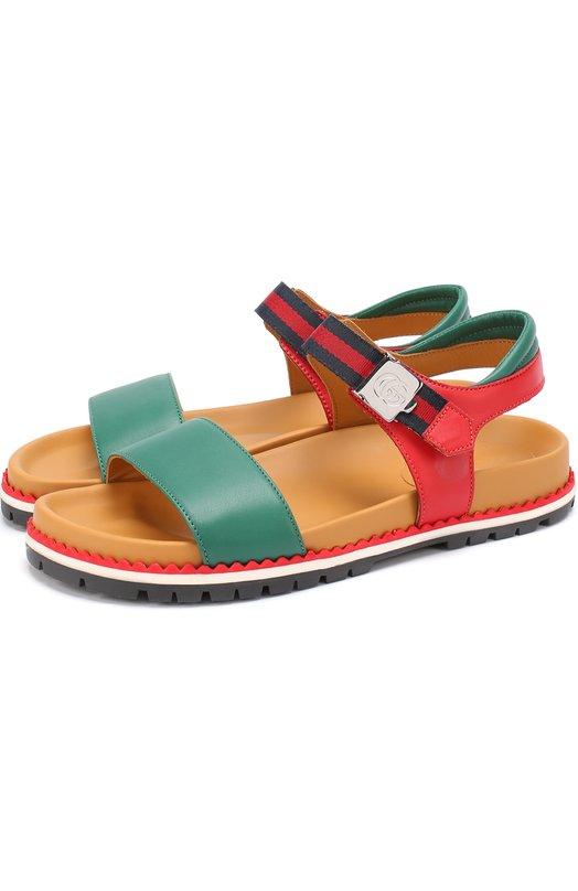 Кожаные сандалии с ремешком Gucci 455503/BLNC0