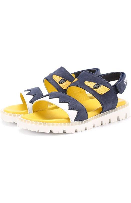 Кожаные сандалии с аппликацией Fendi Roma JMR055/53Y/24-27