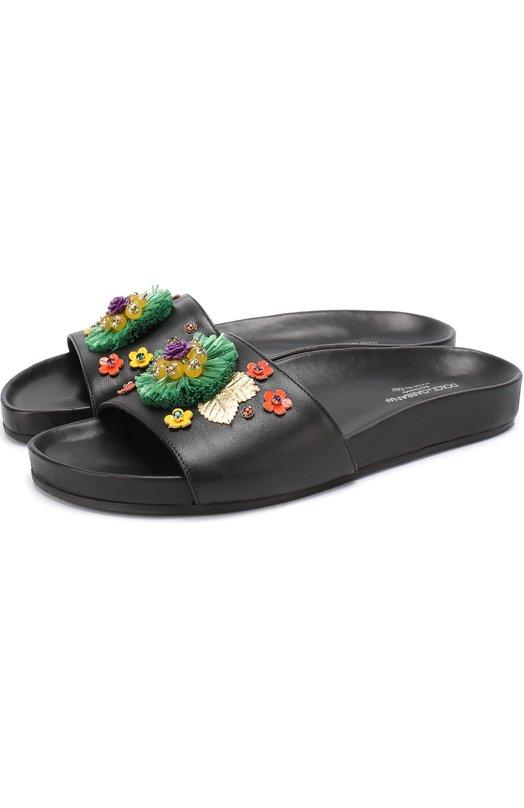 Кожаные шлепанцы с декором Dolce & Gabbana 0132/D10606/AB879/37-39