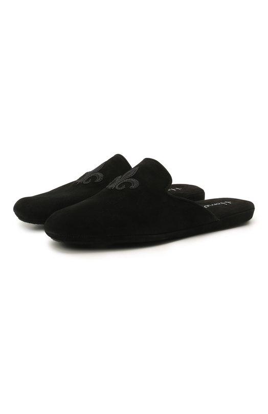 Купить Домашние замшевые туфли с вышивкой Homers At Home, 17418/ANTE, Испания, Черный, Подошва-Кожа: 60%; Подошва-Резина: 40%; Замша натуральная: 100%; Стелька-Замша: 100%; Подошва-Замша: 100%; Подкладка-Кожа: 100%; Кожа: 100%;