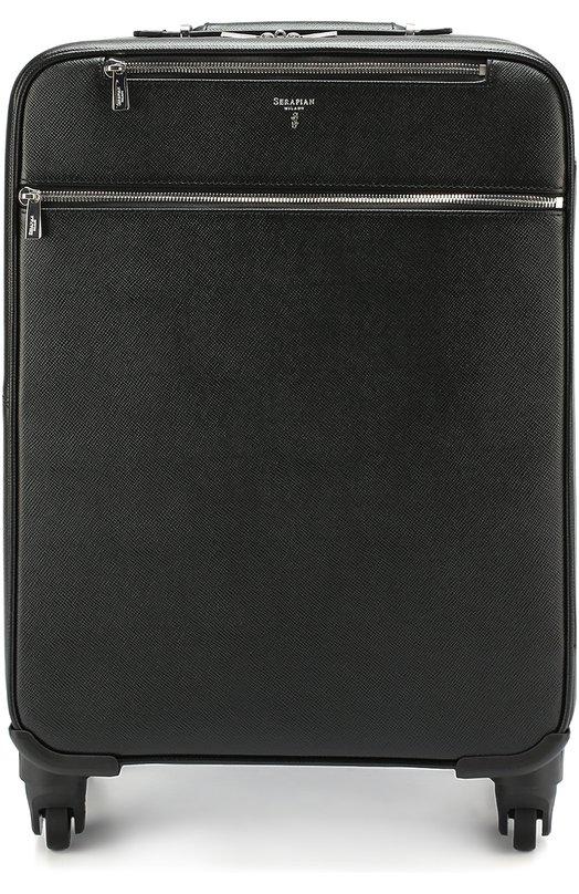 Кожаный дорожный чемодан с внешними карманами на молнии Serapian SEV0EULL6369M34B