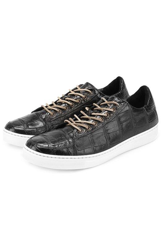 Купить Кеды из кожи крокодила на шнуровке Dami, 2979, Италия, Черный, Стелька-кожа: 100%; Подошва-кожа: 100%; Подошва-резина: 100%; Кожа/аллигатор/: 100%;