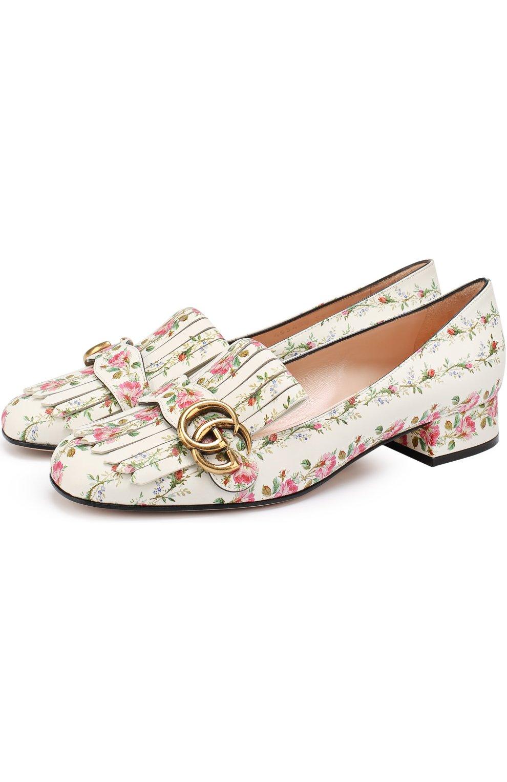 Белое  с принтом туфли