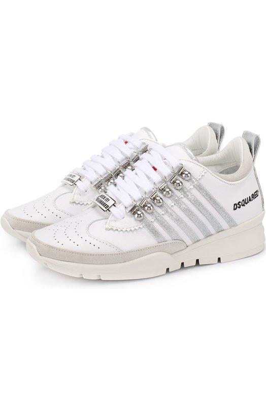 Кожаные кроссовки с декором Dsquared2 S17K201/065