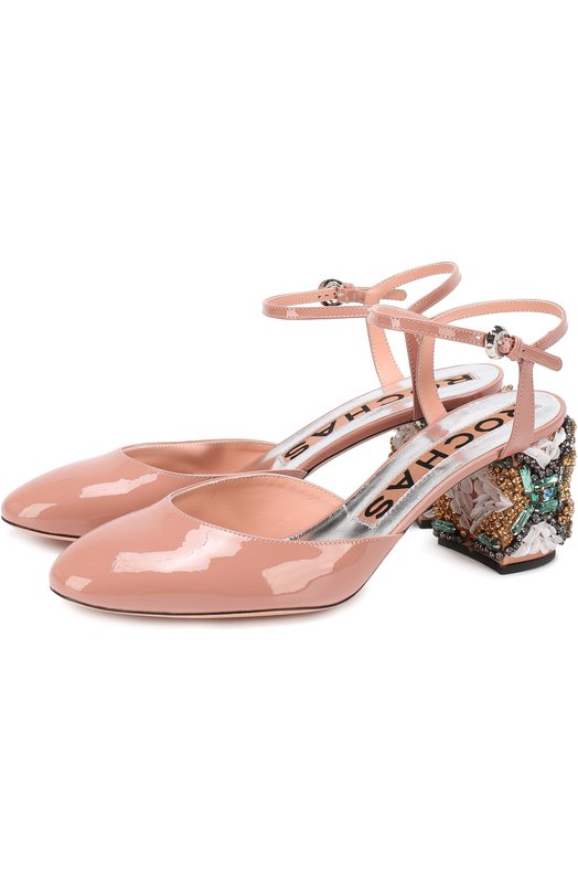Лаковые туфли на декорированном каблуке Rochas R028101/5080
