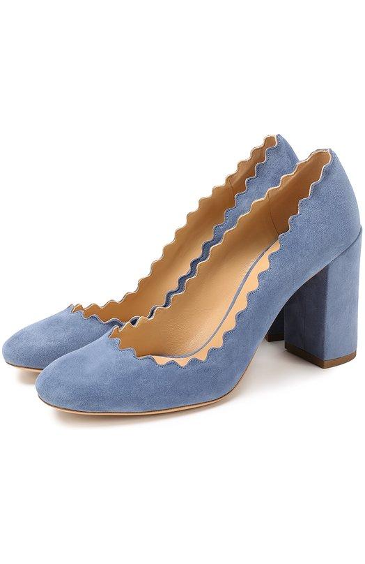 Купить Замшевые туфли Lauren с фигурным вырезом Chloé, CH26231/E01, Италия, Голубой, Стелька-кожа: 100%; Подошва-кожа: 100%; Замша натуральная: 100%;