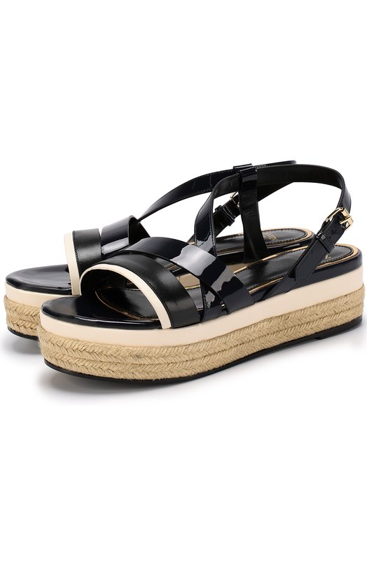 Кожаные сандалии на джутовой подошве Lanvin