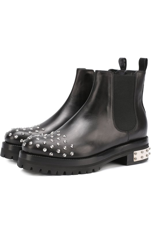 Кожаные ботинки с заклепками Alexander McQueen 462303/WHMU8