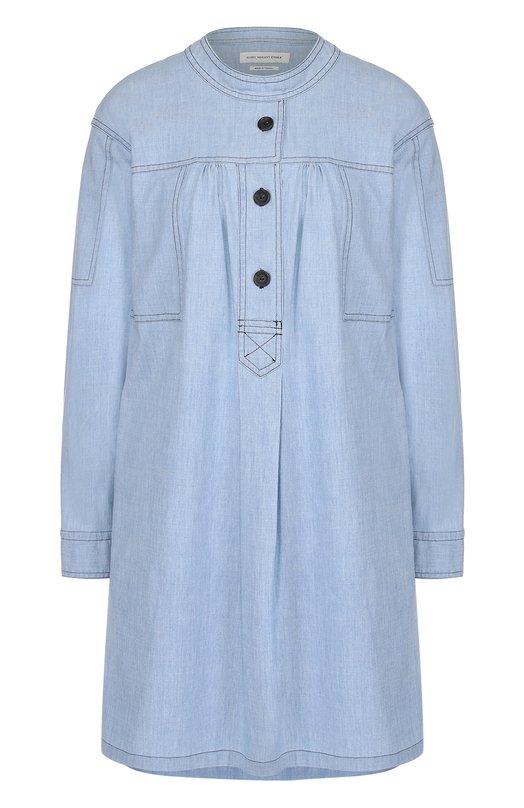 Джинсовое мини-платье свободного кроя с круглым вырезом Isabel Marant Etoile R00867-17P016E/ANISE