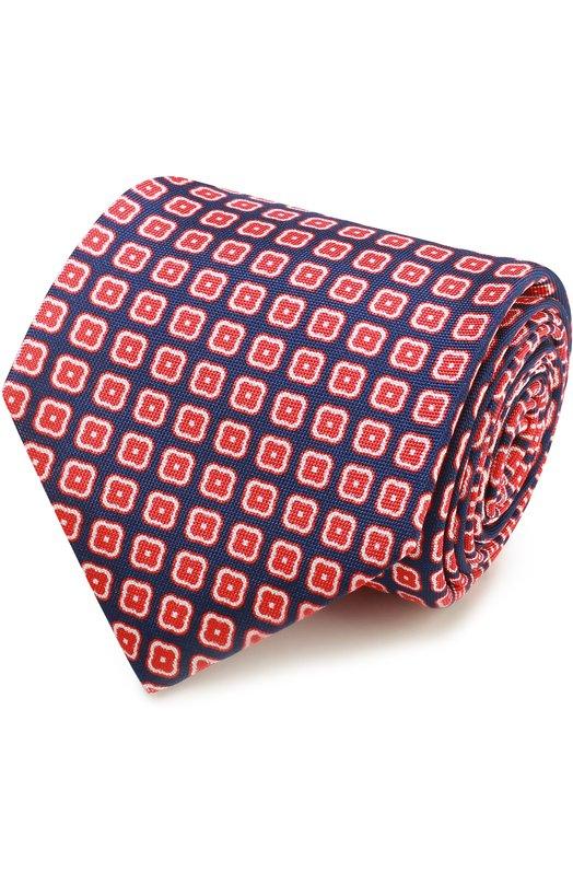 Купить Шелковый галстук с узором Kiton, KA/C02E18, Италия, Синий, Шелк: 100%;