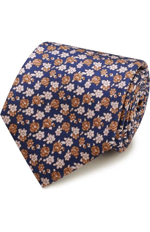 Купить Шелковый галстук с узором Kiton, KA/C03E51, Италия, Синий, Шелк: 100%;