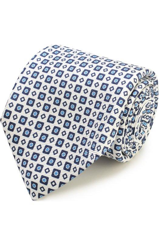 Купить Шелковый галстук с узором Kiton, KA/C03E77, Италия, Белый, Шелк: 100%;