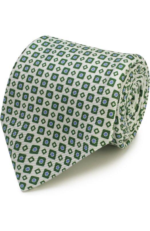 Купить Шелковый галстук с узором Kiton, KA/C03E77, Италия, Зеленый, Шелк: 100%;