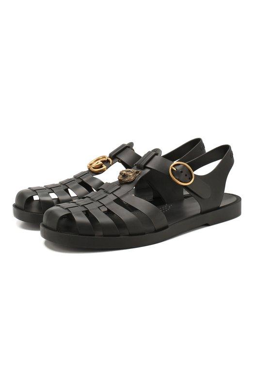 Резиновые сандалии с декоративной отделкой Gucci 463463/J8700