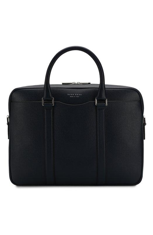 Купить Кожаная сумка для ноутбука с плечевым ремнем BOSS, 50311731, Италия, Темно-синий, Кожа натуральная: 100%;