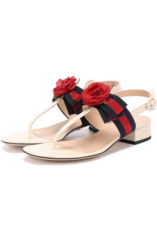 Кожаные сандалии Cindi с цветочной аппликацией Gucci 453436/H5QH0