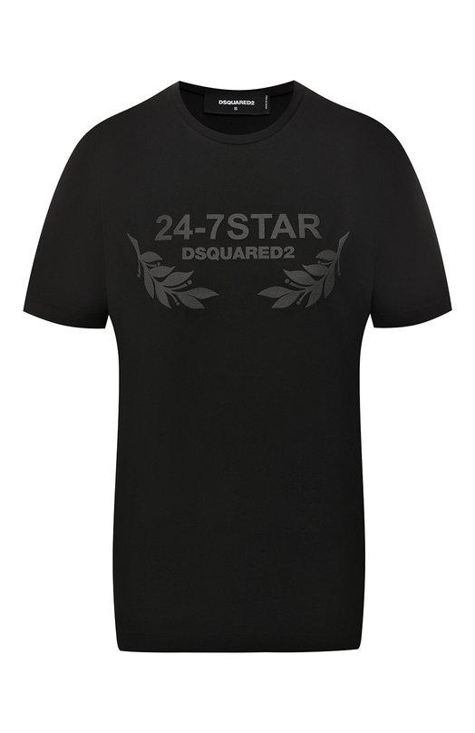 Хлопковая футболка прямого кроя с круглым вырезом Dsquared2 S75GC0850/S22427