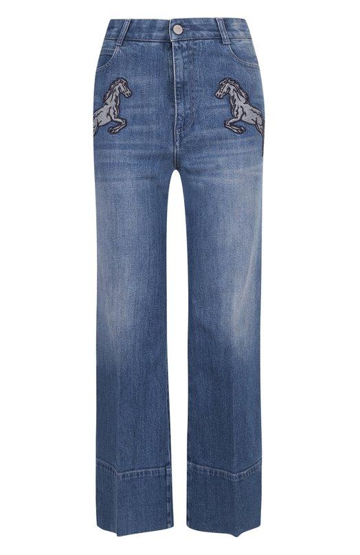 Укороченные джинсы с потертостями и декоративной отделкой в виде лошадей Stella McCartney 424861/SIH15