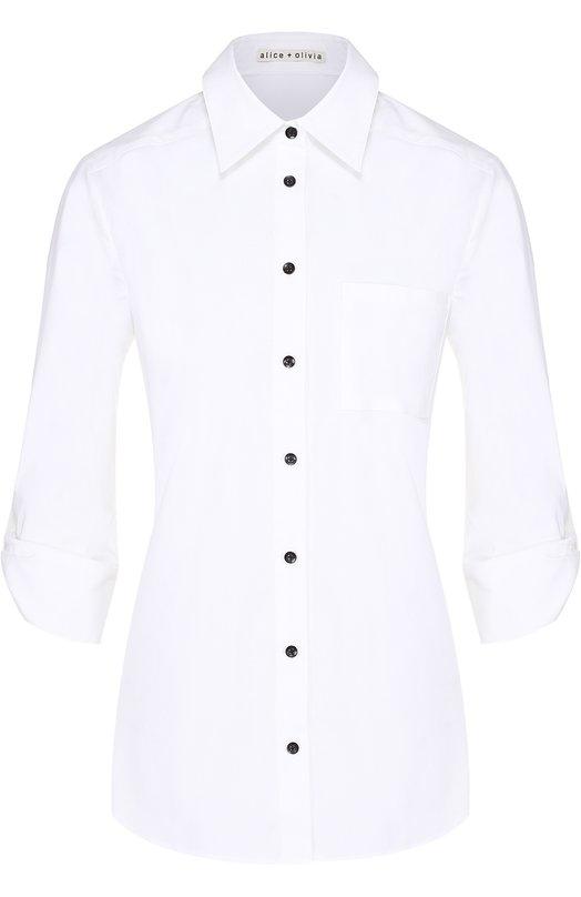 Хлопковая блуза с укороченным рукавом и контрастной надписью на спинке Alice + Olivia P610015711