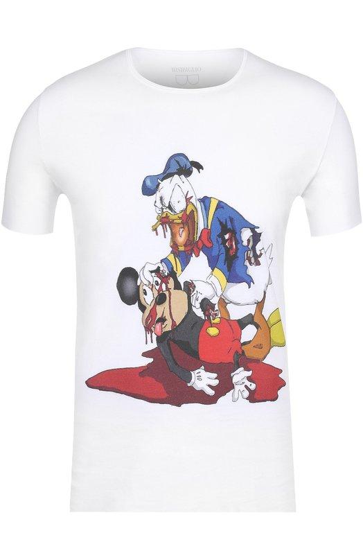 Купить Хлопковая футболка с принтом Bisibiglio Италия 5142111 H0RR0S DIS