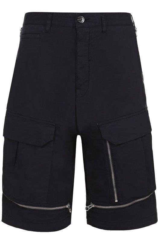 Хлопковые шорты свободного кроя с декоративными молниями Stone Island 6619L0208