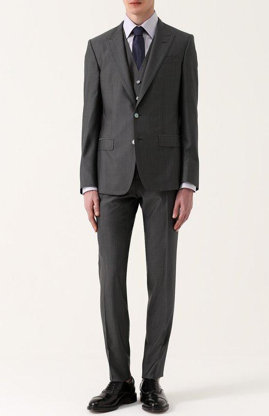 Костюм-тройка из смеси шерсти и шелка с контрастной прострочкой Dolce & Gabbana 0101/G17PMZ/FU3LB